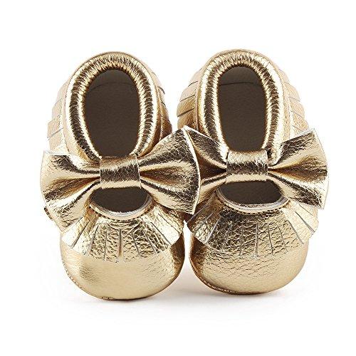 DELEBAO Babyschuhe Krabbelschuhe Leder Baby Lauflernschuhe Neugeborene Erste Schuhe Lederschuhe Weiche Sohle mit Quaste und Bowknot (Gold1,6-12 Monate)