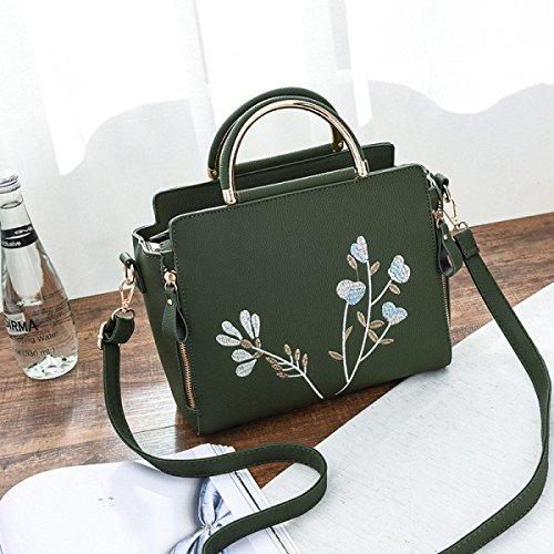 Mode Stickerei Einfache Lederhandtasche Umhängetasche Schultertasche Multicolor Green