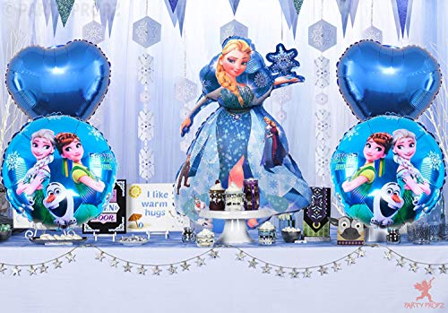 Party Propz 5Pcs Frozen Theme Foil Balloons for Frozen Birthday Decoration Items for Girls