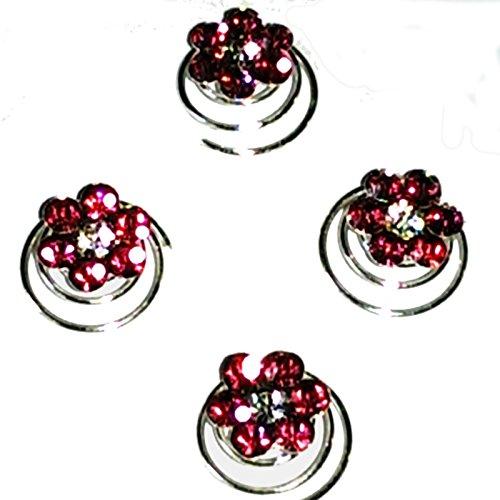 Lot de 4 fleurs argent cristal Twist de cheveux bobines en violet ou bleu ROSE Mariage/Bal