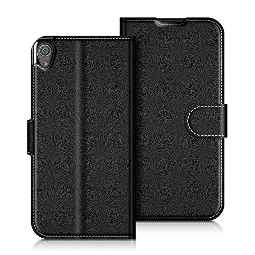Coodio Sony Xperia XA Hülle Leder Lederhülle Ledertasche Wallet Handyhülle Tasche Schutzhülle mit Magnetverschluss / Kartenfächer für Sony Xperia XA, Schwarz