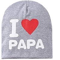 Sanzhileg Los niños Los niños Imprimen de Punto I Love Mama Baby Hat Algodón Unisex Baby Cap Letter Kids Hat por 0-3 años - Gris