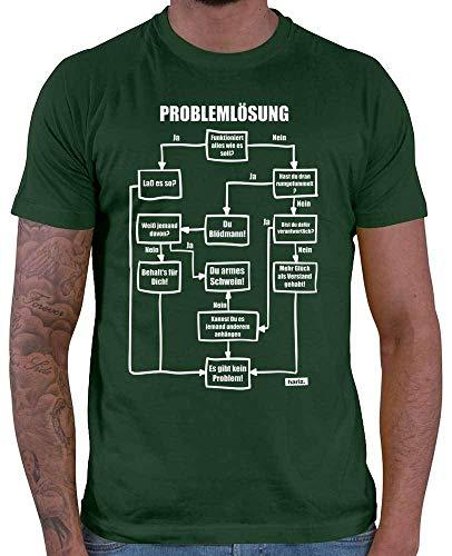 HARIZ  Herren T-Shirt Problemlösung Es Gibt Kein Problem Statement Spruch Plus Geschenkkarte Dunkel Grün L