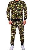 Herren Jogginganzug- Army Camouflage (XL, Grün)