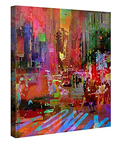 Impression Giclée sur Toile en Grand Format – Big City Life – 80x80cm - Photo sur Toile de Tendue sur Châssis en bois – Tableau Artistique Contemporain – Image Déco d'Art Murale Prêt à Accrocher