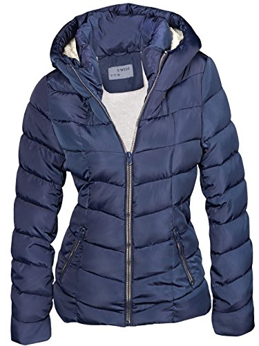 DAMEN WINTER JACKE GEFÜTTERT KURZ STEPP DAUNEN OPTIK KAPUZE SKIJACKE WARM