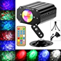 Disco Lights 10 Colors LED Water Ripples Light DJ Stage Lights Party Light with Remote Control Sound Activated for Home KTV Birthday Wedding Club Pub Christmas Halloween
