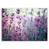 ge Bildet® hochwertiges Leinwandbild Pflanzen Bilder - Lavendelblüten Feld - Blumen Violett Lavendel Natur - 70 x 50 cm einteilig 2206 F