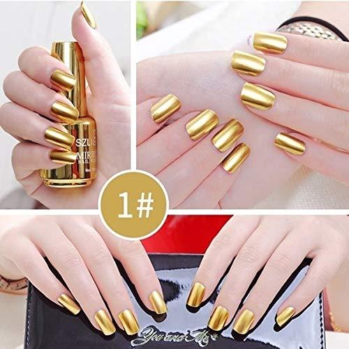 Ocamo Metallic Nagellack Spiegeleffekt Lack bunter glänzendes Metall Nagellack Maniküre Lack Gold 1# Normale Spezifikationen (Nagellack Gold Metallic)