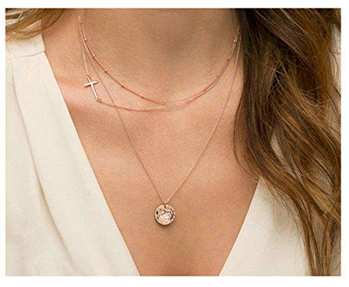 Epinki Damen Kette Multi-layer Kette Gold Halskette Kreuz Runde Anhänger (Medallion Kostüm Gold Halskette)
