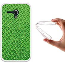 Funda Alcatel One Touch Pop D5, WoowCase [ Alcatel One Touch Pop D5 ] Funda Silicona Gel Flexible AnimalSkinPiel Verde De Serpiente, Carcasa Case TPU Silicona - Transparente