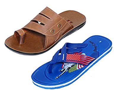 IndiWeaves Men Flip Flop House Slipper And Hawaai Chappal-Tan/Blue-9 IND/UK- Pack Of 2 Pairs