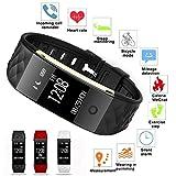 TRDCZ Smart Armband Pulsmesser Benachrichtigung Sport Tracker Remote-Kamera-Uhr,White