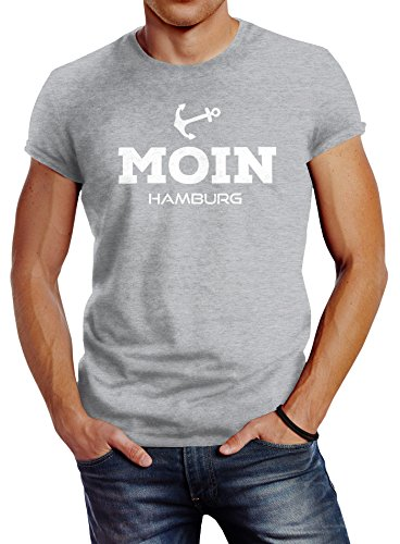 Neverless Herren T-Shirt Moin Hamburg Anker Slim Fit grau L