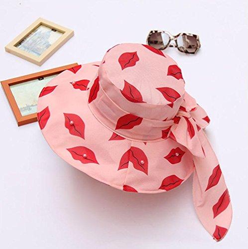 Chapeau de soleil, plage pliable protection chapeau UV Pink