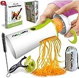 FabQuality No1 Best Seller Premium Vegetable Spiralizer Veggetti Spiral Slicer COMPLETE BUNDLE x4 - Spiraliser Booklet, Vegetable Cutter, Spiral Booklet, Brush , Peeler, Zucchini Pasta Noodle Spaghetti