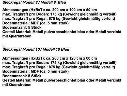 Steckregal - verschiedene Größen / Farben wählbar - Lagerregal, Steckregal, Werkstattregal, Regal, verzinkt oder blau beschichtet, (Modell 2) - 4