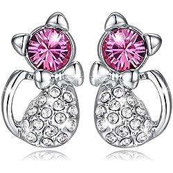 MARENJA-Regalo San Valentín Pendientes Mujer de Moda-Gato de Cristal Rosa-Joya Chapada en Oro Blanco con Cristal