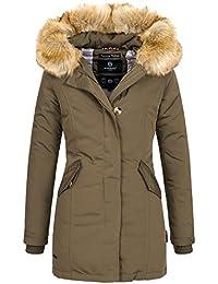 Marikoo KARMAA Damen Jacke Parka Mantel Winterjacke warm gefüttert Luxus  XXL Kunstpelz 12Farben 911e9040ab