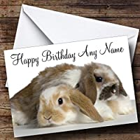 Two Adorable Bunny Rabbits Personalised Birthday Card