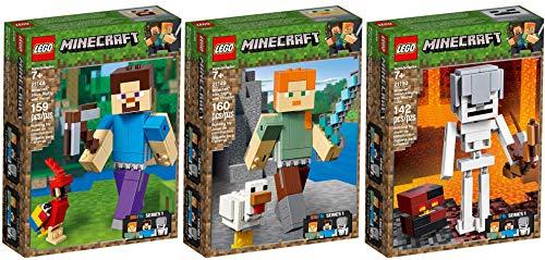 LEGO® MinecraftTM 3er Set 21148 21149 21150 BigFig Steve mit Papagei + Alex mit Huhn + Skelett mit Magmawürfel
