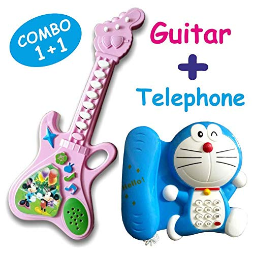 Naksh Toys Musical Telephone and Guitar Toy for Kids Multicolor (Pack of 2)