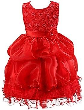 LSERVER-Vestido de Floral con Rose patrón para Las Niñas/Princesas