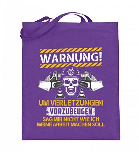Hochwertiger Jutebeutel (mit langen Henkeln) - Bauarbeiter Shirt · Geschenk Bagger Fans · Baustelle · Spruch: Warnung Verletzungen
