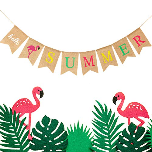 nen Banner Rustikale Sommer Banner mit Flamingo Ananas Palm Blätter Muster Sommer Girlande Flagge Dekoration für Schwimmbad Party, Strand Party, Grill Party (Farbe Set 1, 1 Stück) ()