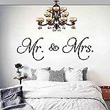 Sticker mural Mr et Mme Vinyle Decal Home Decor Couple Stickers Muraux pour Chambre Décorer Amovible Autocollants 28X91cm