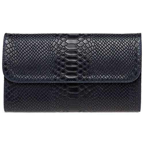 Caspar TL722 Damen echt Leder Envelope Clutch Tasche Abendtasche mit Kroko Prägung, Farbe:dunkelblau, Größe:One Size -
