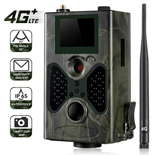 YTLJJ 4G Wildkamera Fotofalle 16MP 1080P mit Handy übertragung, IP65 wasserdichte Jagdkamera mit bewegungsmelder 42 Pcs Low-Glow 940nm Infrarot-LEDs, Infrarot-Nachtsicht 20m Mit SD-Karte