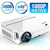 ABOX 4000 Lumens Projector Native 1080p (1920 x 1080) LED Video Projector Portable Full HD, Supports HDMI USB SD VGA AV for Amazon Firestick, Laptop, Smartphone Perfect for Football Games, Film White