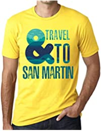 Hombre Camiseta Vintage T-Shirt Gráfico and Travel To San Martin Amarillo