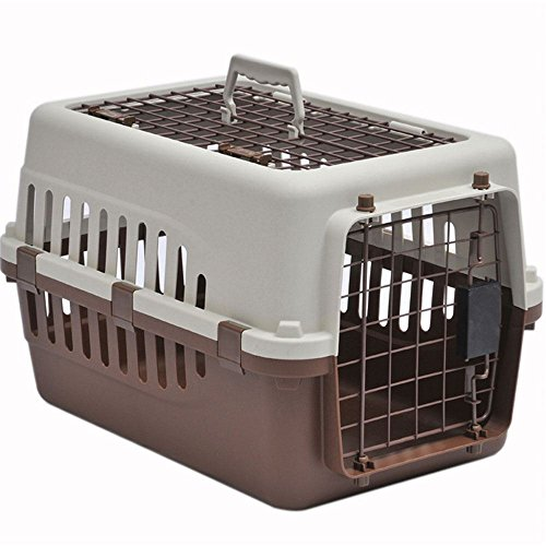 Home Discount Pet Carrier, Animal Cage Cat Dog Transport Box Spring Lock Door, White & Brown, 2 Door