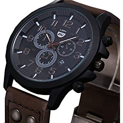 Tonsee Vintage Classic Mens Date Leather Strap Sport Quartz Army Watch