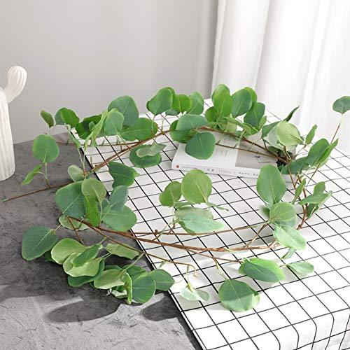 Künstliche Eukalyptus-Rebe-Imitat-Silk Silberdollar-Eukalyptus-hängende Girlanden-Grünpflanze für Hochzeits-Weihnachtsfeiertags-Mittelstücke