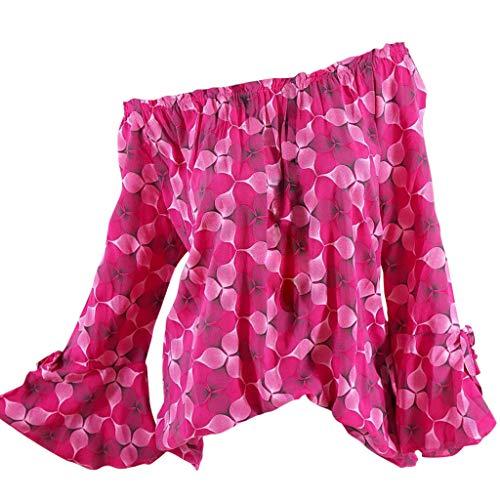 Zegeey Damen T-Shirt GroßE GrößEn ÄRmelloses Rundhals Stickerei Sommer Oberteil Blusen Shirts Tops LäSsige Lose(W7-rot,EU-36/CN-M) - Oversized-muse