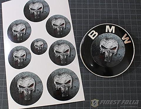 Skull #2 Emblem von Finest-Folia Folien Set für BMW M3 M5 E60 E61 F10 E90 E91 E92 M Paket Ecken