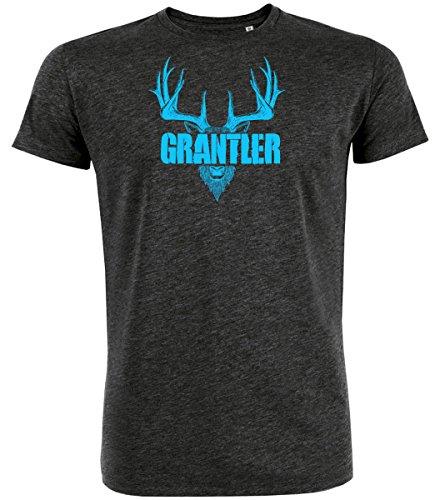 DATSCHI Trachten T-Shirt GRANTLER, Bio Baumwolle, Trachtenshirt Oktoberfest Bayrisch (XXL, Darkgrey-Blau)