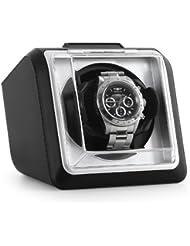 Klarstein 8PT1S Watch winders Estuche vitrina movimiento para 1 reloj automático (Motor silencioso, funcionamiento individual, 4 modos, ilumunición LED azul) Negro