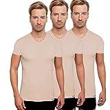 3 unsichtbare Kurzarm Unterhemden, V-Neck, Vorteilsangebot, Hautfarbe , Größe M