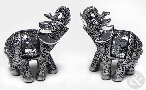 Just Contempo Indian Mosaic Elephant Ornament, Silver