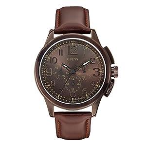 Guess W0067G4 – Reloj analógico de Cuarzo para Hombre con Correa de Piel, Color marrón