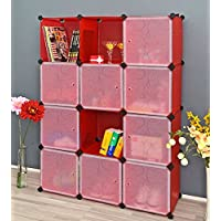 Kurtzy Wardrobe Organizer Rack for Kids and Women Clothes Shelf Storage Cabinet Bedroom Boxes 12 Doors