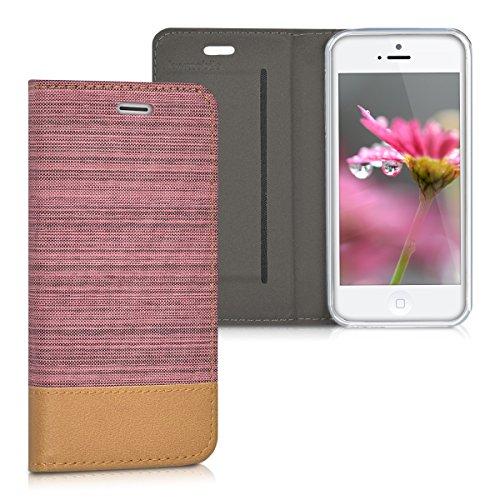 kwmobile Hülle für Apple iPhone SE / 5 / 5S - Bookstyle Case Handy Schutzhülle Textil mit Kunstleder - Klapphülle Cover Altrosa Braun .Altrosa Braun