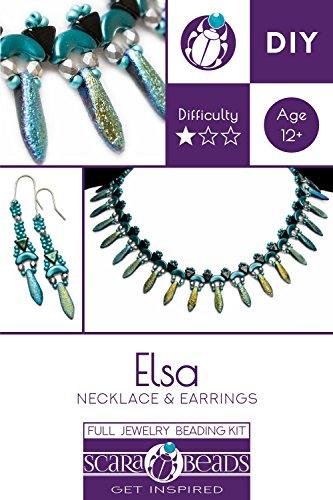 Exklusive Perlenstickerei Kit für DIY Schmuckherstellung Elsa Halskette & Ohrringe (Geätzter Blau Regenbogen) (ELS001)