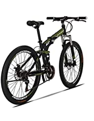 Extrbici G7 Mountain Bike 21 Speed Steel Frame 27.5 Pulgadas Ruedas Doble Suspensión Bicicleta Plegable (Naranja) (Verde del ejército)