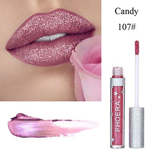8 Farben Langlebige Matte Flüssigkeit Lipgloss,EUZeo Glitter Wasserdichte Lippenstift Lipgloss (G)
