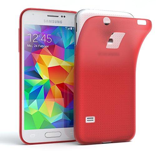 """EAZY CASE Handyhülle für Samsung Galaxy S5 Mini Hülle - Premium Handy Schutzhülle Slimcover """"Clear"""" hochwertig und kratzfest - Silikon Backcover in Schwarz / Anthrazit Matt Rot"""